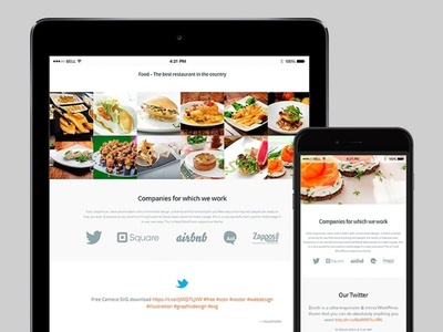 Tablet View - Food WordPress Theme ifood pub food and drink restaurant web design and development pages table ipad food slider design page builder web development web design plugins responsive site builder template theme wordpress