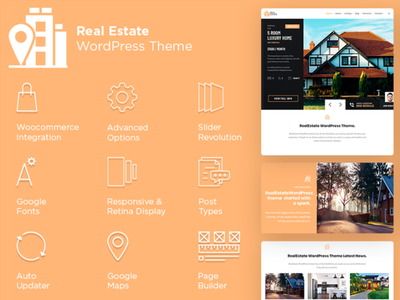 RealEstate WordPress Theme - Features List property marketing property developer real estate agency real estate branding real estate agent real estate properties listings slider design page builder web development web design plugins responsive site builder template theme wordpress
