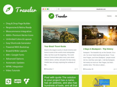 WordPress Blog Builder - Traveler WordPress Theme by Visualmodo posts blog design blogging voyage travel app travel agency traveling trip travel blog design page builder web development web design plugins responsive site builder template theme wordpress