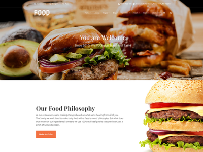 Burger Restaurant - Food WordPress Theme pub bar branding graphic design landing page burger widgets menu restaurant food logo illustration design web design plugins responsive site builder template theme wordpress