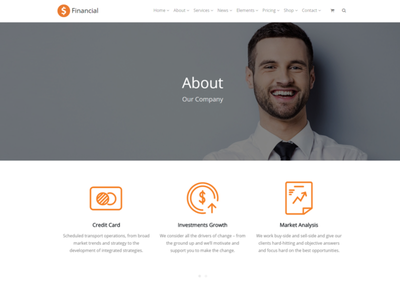 About Company Page - Financial WordPress Theme css stocks money business market graphic design design illustration web design consulting templates financial animation ui plugins responsive site builder template theme wordpress