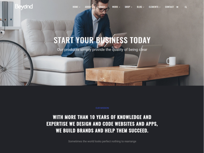 Home Startup - Beyond All-In-One WordPress Theme elements widgets php html css inspiration ideas motion graphics ui branding logo graphic design 3d animation plugins responsive site builder template theme wordpress