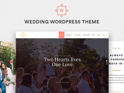 Wedding WordPress Theme Preview template web development web design site builder illustration celebration events wordpress logo theme wedding