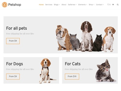 Petshop WordPress Theme - Shop Categories