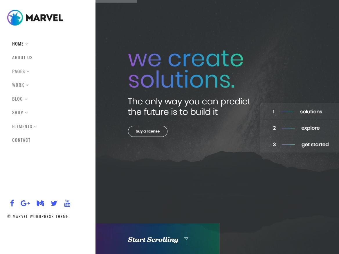 Marvel Wordpress Theme Vertical Navigation Menu By