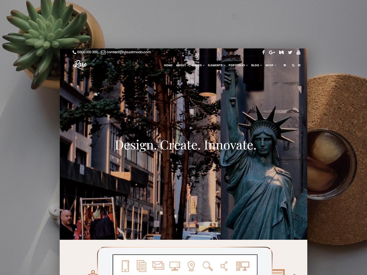 Rare Wordpress Theme Creative Site Builder By Visualmodo