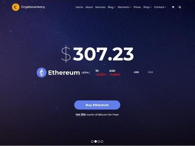 Cryptocurrency WordPress Theme - Slider Ethereum Prices