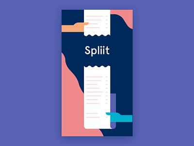 Spliit Splashscreen social receipt splashscreen bill splitting ios payment mobile flat ui app illustration