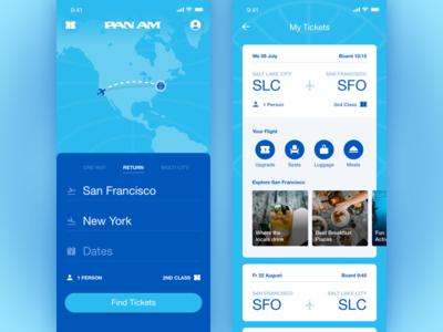 Pan Am App Concept: Home & My Tickets Screens