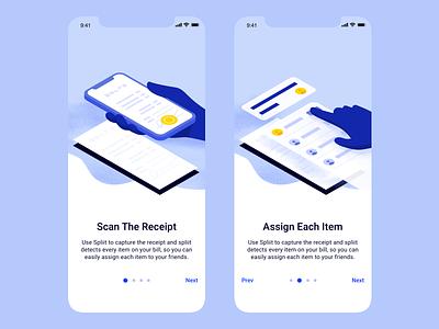 Spliit Onboarding splitting receipt vector finance money bill ux fintech design branding brand payment illustration mobile ios ui app flat