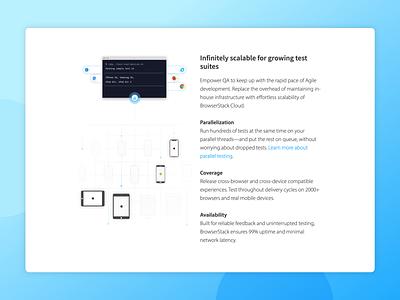 Spot illustration - Parallelization grid testing website blue ui design mobile devices browsers sketch browserstack illustration