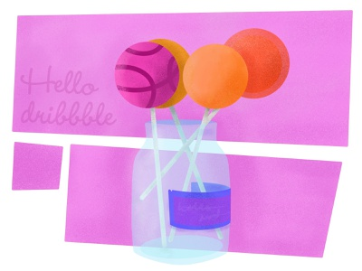 Hello Dribbble! lollipops candy sketch procreate welcome firstshot debut hellodribbble illustration