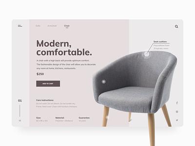 Modern, Comfortable Furniture. shopping online store modern furniture webdesign ecommerce ui