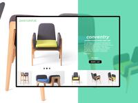 furniture landing page ui with aqua theme