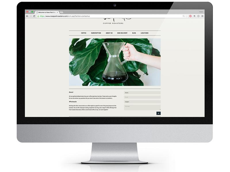 Rose Park Roasters Website coffee website