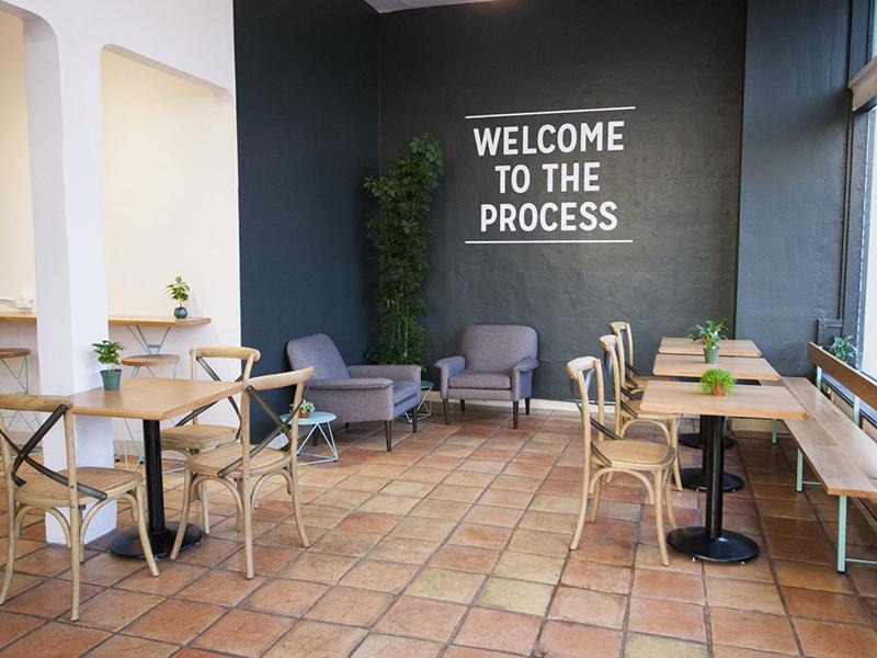 Rose Park Roasters Shop mural type interior design coffee shop