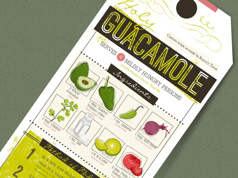 Holy Guacamole recipe card illustration fun tag guacamole food humor vegetables mmmmmm