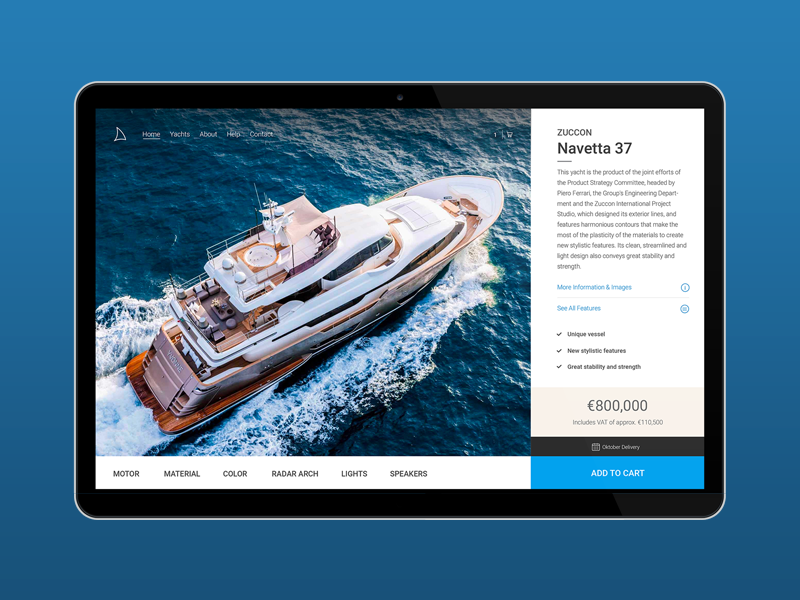 Yacht - Online Store -  Product Page product page web design ui