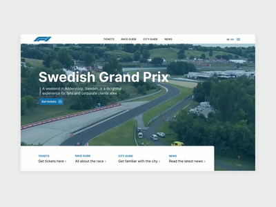 Swedish Grand Prix desktop web design animation