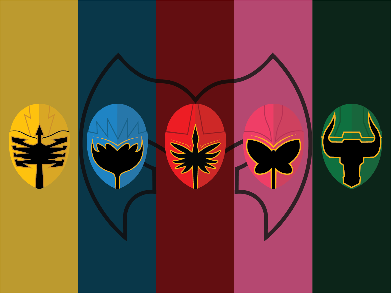 Power Rangers Mystic Force Illustration icon vector minimal illustrator logo adobeillustrator illustration flat design branding