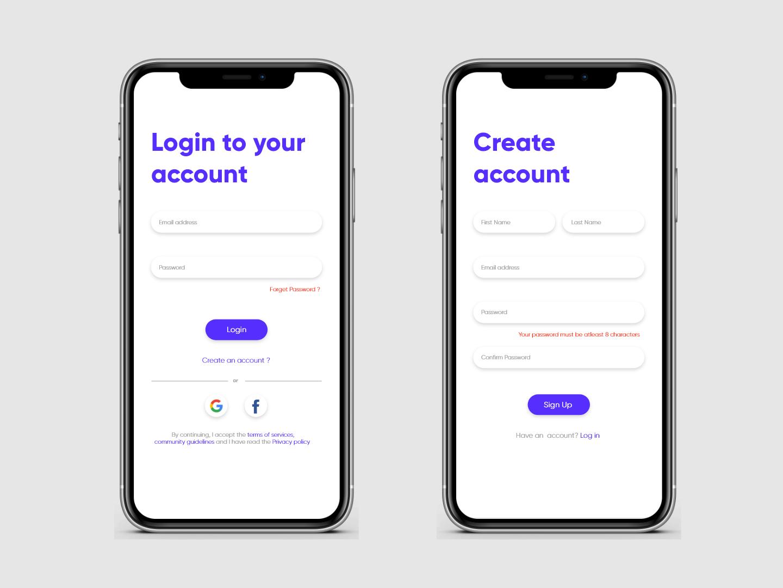 Login and Sign Up color app signup sign in account login design login screen violet adobexd ui minimal design