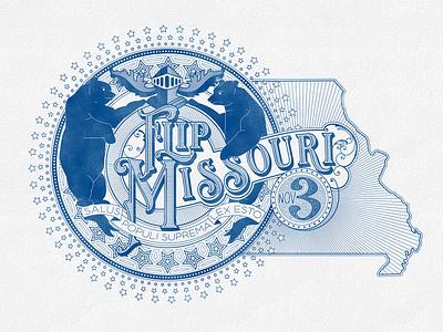 Flip Missouri democrat vote star flag bear flip cover insurance map missouri blue lines illustration texture