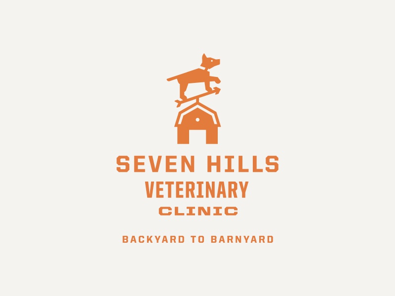 Seven Hills Veterinary Clinic Logo: Horizontal tagline barnyard backyard barn orange weathervane dog logo