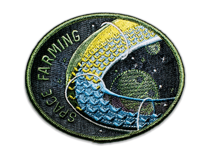 Space Badge Embroidery: Space Farming embroider embroidery patch real texture yellow design crop plant plants green moon round tube farm illustration space