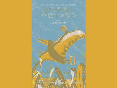 Koe Wetzel: Pterodactyl Of Altamont Mo missouri tambourine maraca farm corn poster music design illustration yellow texture