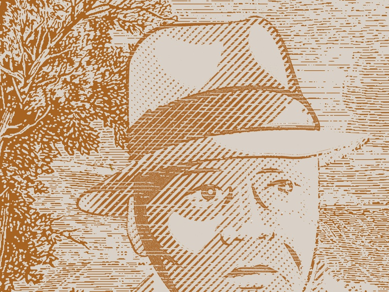 Charles Houston Portrait fedora illustration lines texture