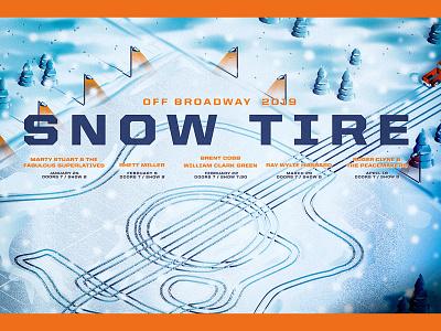 Snow Tire Music Festival 2019 st. louis stl snow flakes poster winter guitar truck tracks lights tire snow illustration blue