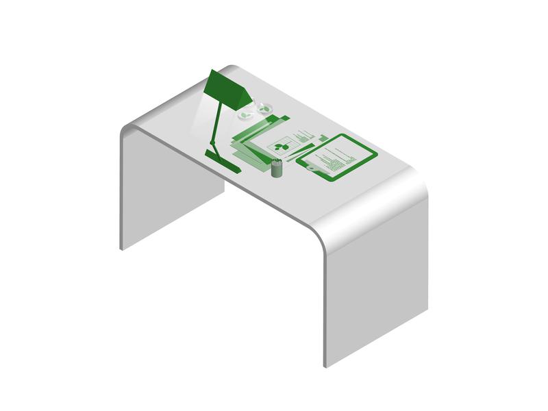Lab Workstation leaf ag clipboard papers lamp green illustration