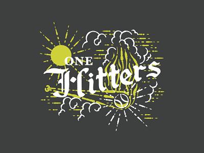 One Hitters Softball 01 sky texture vector yellow design sun illustration lines clouds smoke fire bat hit one t-shirt