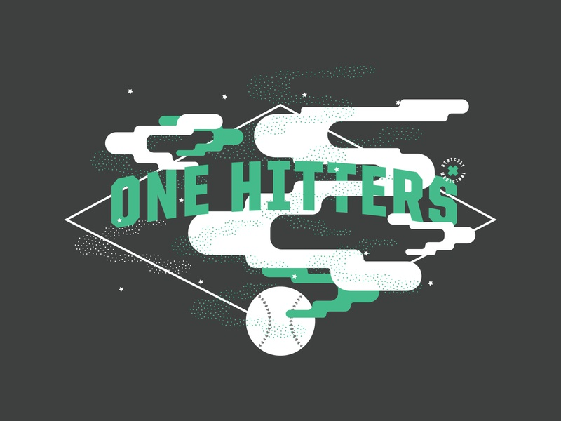 One Hitters Softball 02 hit one ball baseball dots design logo lines illustration space green texture smoked t-shirt