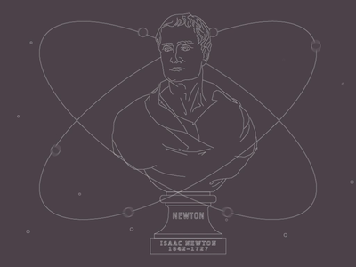 Newton Bust author theologian astronomer physicist mathematician science looping animated space illustration