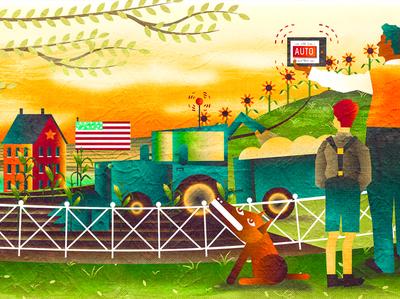 Folk Art for Digital Farming illustrator photoshop details concept article folk art outsider corn combine tablet ipad farm digital art