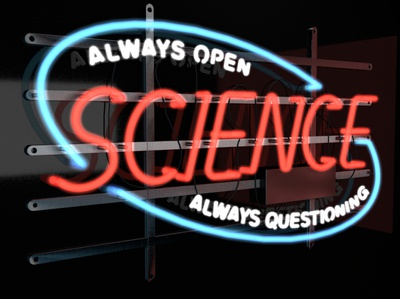 3D Science Open Sign reflections open science sign neon c4d