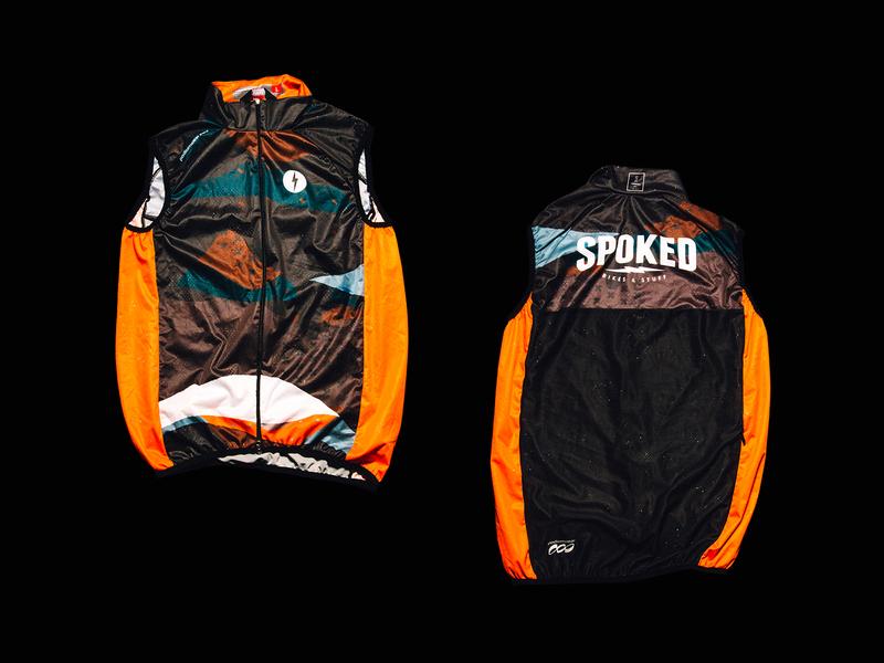 SPOKED BIKES & STUFF: Vest bicycle cycle lightening pattern x bolt branding vector design texture illustration orange