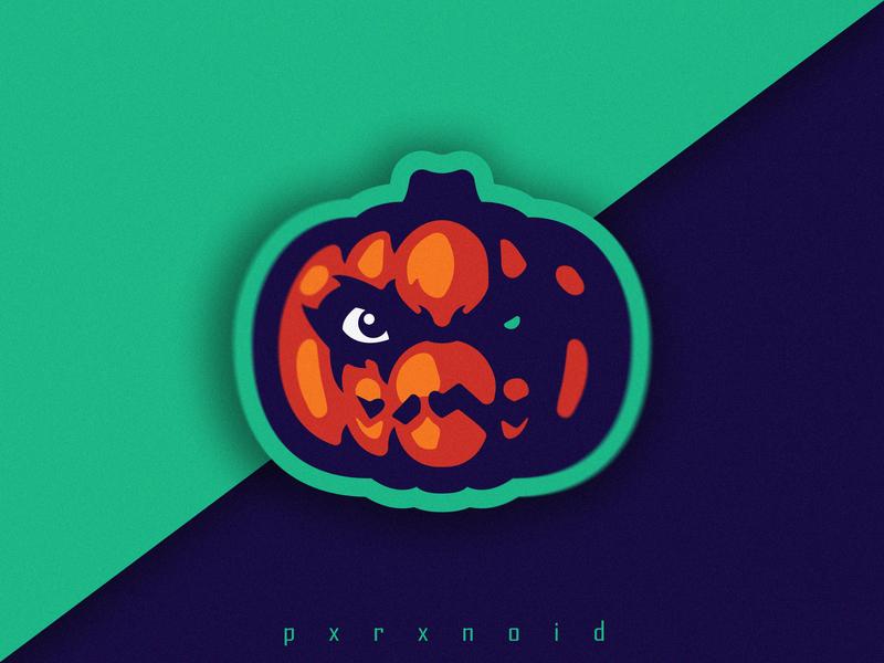 Evil Pumpkin Mascot Logo helloween pumpkin angry purple e-sports web icon art mascot logo mascot branding logo flat app vector design illustration