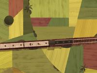 Train crossing fields