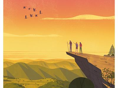 Appalachian Trail usa hike trail geese sunset illustration