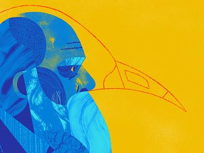 Darwin Day profile portrait darwin pattern texture blue color illustration bird evolution