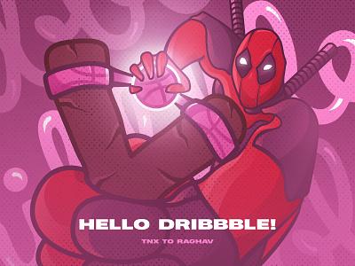 Hello Dribbble! shot comics marvel deadpool illustration hello dribbble dribbble