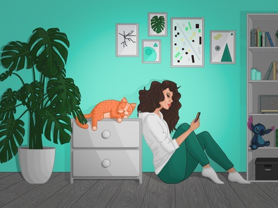 Relaxing at Home design art 2d interior plant character girl living room room stayhome cat illustration