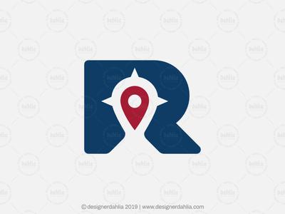 Letter R Pin Navigator Logo