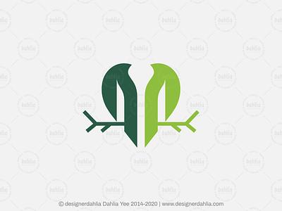 Letter M Birds Logo branding nature logo green logo letter m birds letter logo letter mark logos logo for sale logo design brand identity monogram initials lettermark letter m logo