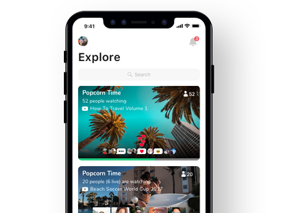 Explore notch iphonex ios social feed list play music video chat live airtime now