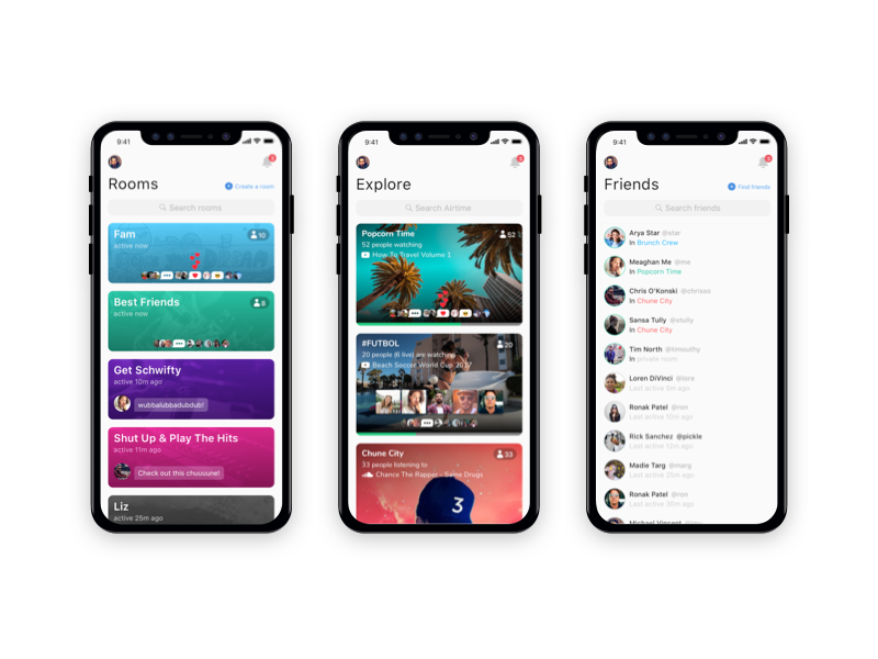 Rooms <> Explore <> Friends chat music video table list live friends cards iphone x ios airtime concept