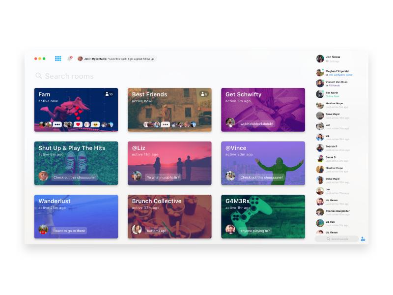 Desktop Concept app web social friends music video groups chat live desktop airtime