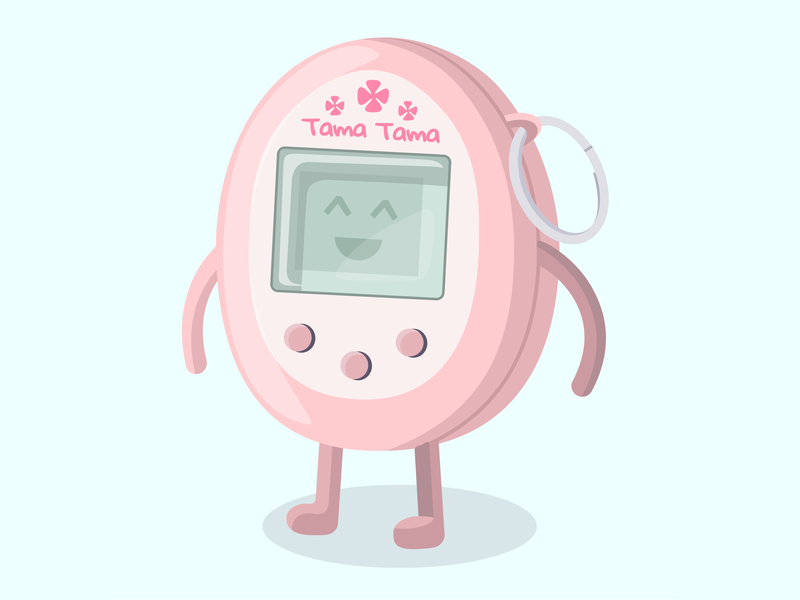 Tama Tama colors tamagotchi design vector illustration